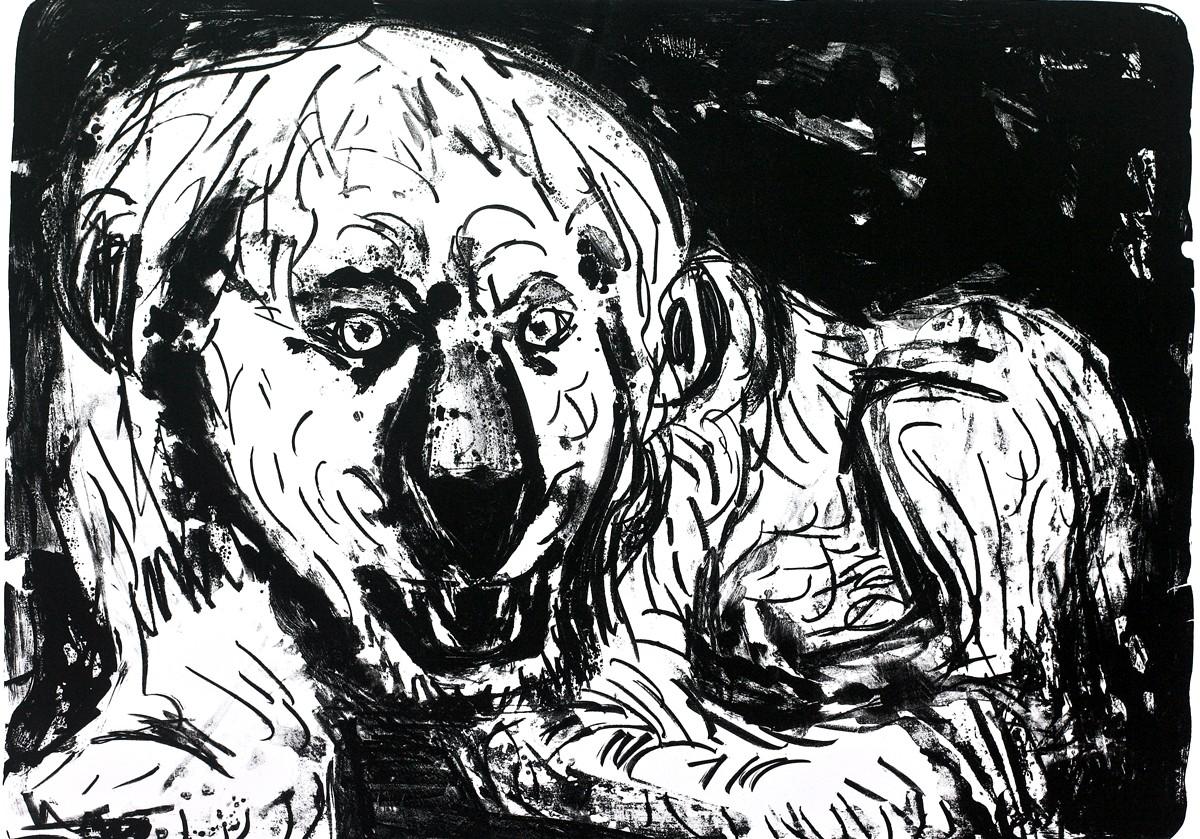 A.R. Penck Löwe liegend Lithografie