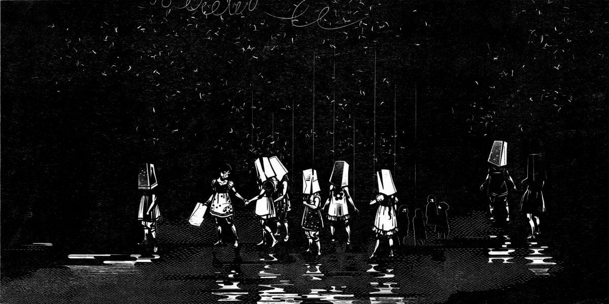 Mitternachtsstunde (Spiel mit K), Franca-Bartholomäi, Holzschnitt, 2019, 60x120cm